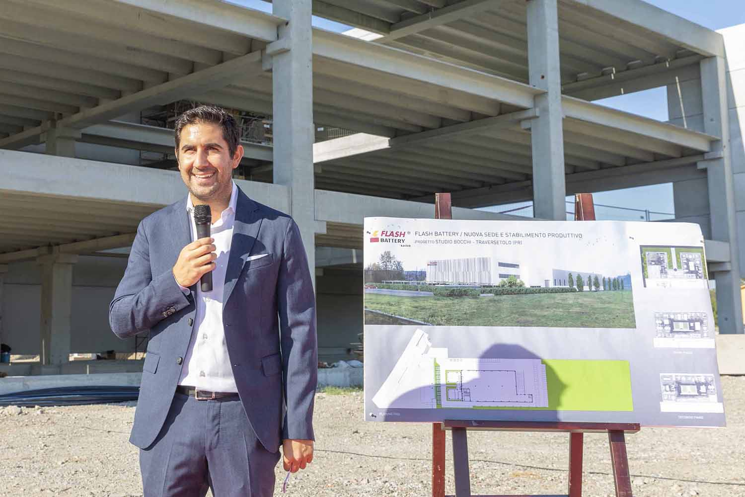 Marco Righi CEO Flash Battery laying first stone new headquarters