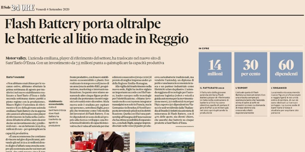 Il Sole 24 Ore - Lithium Batteries from italy