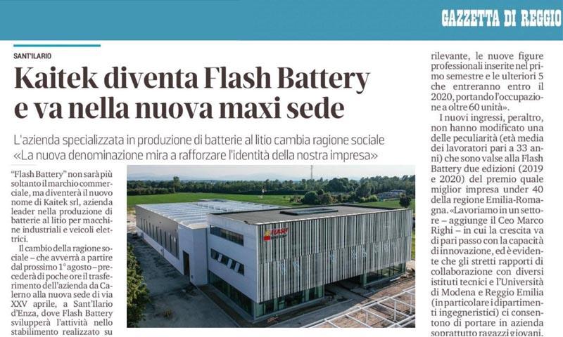 Gazzetta Reggio Kaitek diventa Flash Battery