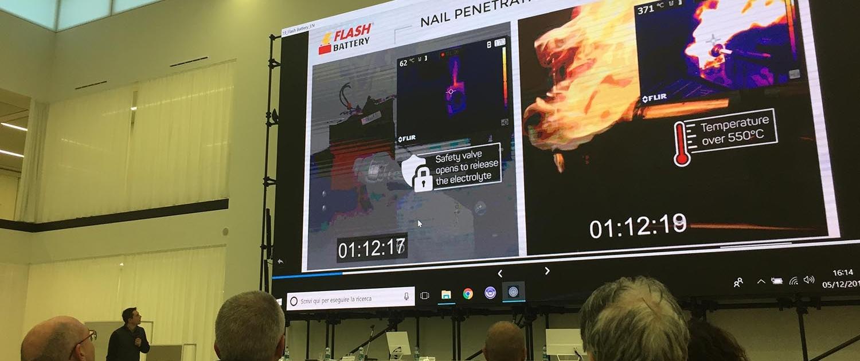 Flash Battery Seminar Elektrofahrzeuge Florim nail penetration test
