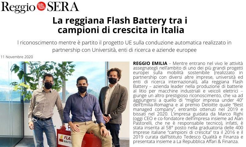 11-2020 Reggio Sera Flash Battery tra i campioni della crescita