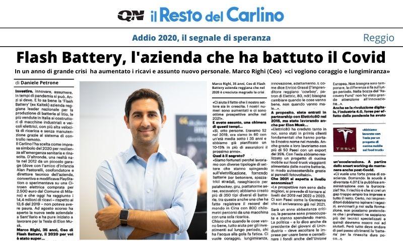 Il Resto del Carlino: Flash Battery l'azienda che ha battuto il Covid