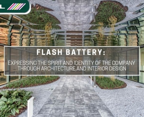Estel Flash Battery expressing company identity through architecture