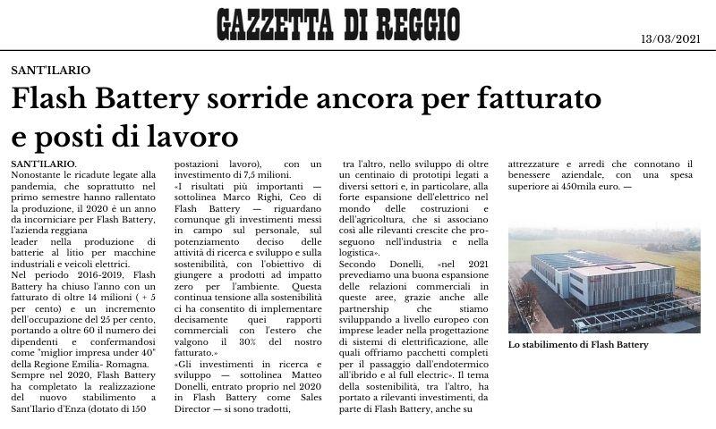 Gazzetta di Reggio Flash Battery sorride ancora per fatturato e posti di lavoro