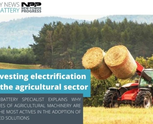 new power progress flash battery harvesting electrification in agricultural sector